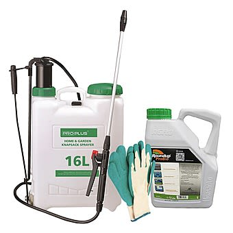 Weed Killer Kit With RoundUp ProActive, 16L Knapsack Sprayer & Gloves