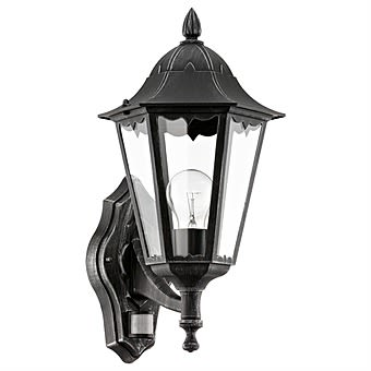 Eglo Navedo Sensor Black Outdoor Wall Light with Up Design 93458