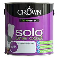 Crown Solo One Coat Satin White Paint 2.5 Litre