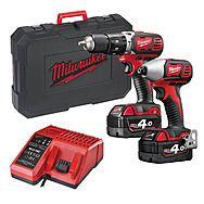 Milwaukee M18BPP2C402C Hammer Drill & Impact Driver 4.0Ah M18BPD M18BID