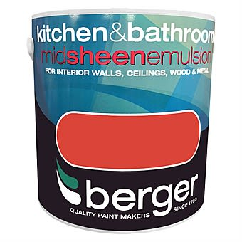 Berger Kitchen & Bathroom Mid Sheen Interior Paint Spicy Red 2.5L
