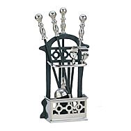 Fireside Victorian Cage 4 Piece Companion Tool Set Black and Pewter