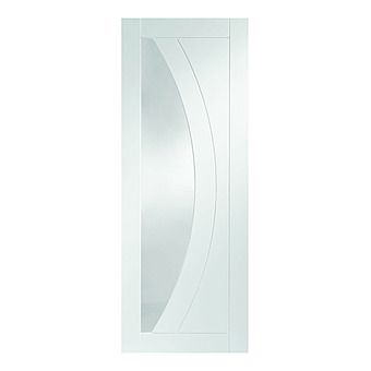 Picture of White Primed Salerno Glazed Door with Clear Glass