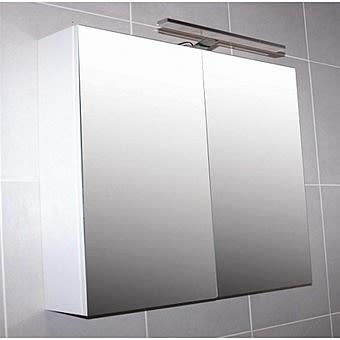 Mirrored Bathroom Cabinet With White LED Light 60cm | Rimni