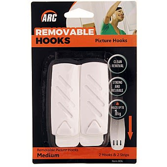 White Removable Picture Hooks Medium | Arc (806)