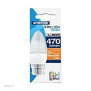 Status 5.5W 40W LED BC Candle Pearl Bulb