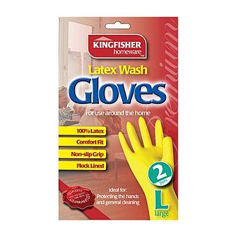 Kingfisher Latex Washing Up Gloves Large 2 Pairs