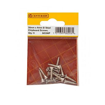 Centurion 4 x 30mm Stainless Steel Chipboard Screws CRCS Pack of 9