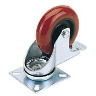 Draper 65514 75mm Swivel Plate Fixing Polyurethane Wheel With Brake