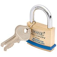 Draper 64161 40mm Heavy Duty Solid Brass Padlock & 2 Keys