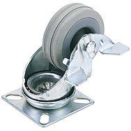 Draper 65474 75mm Dia. Swivel Plate Fixing Rubber Castor With Brake