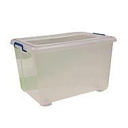 Plastic Storage Box with Wheels 90L
