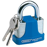 Draper 64183 65mm Laminated Steel Padlock with Hardened Steel Shackle