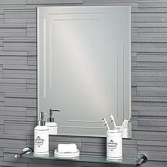 Showerdrape Chelsea Diamond Cut Rectangular Bathroom Mirror