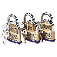Draper 67663 Pack of 6 Keyed Alike 60mm Brass Padlocks