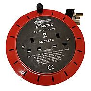 13 Amp Cable Cassette Reel 6M with 2 Sockets 240V