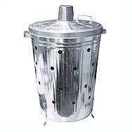 Galvanised Incinerator Bin With Chimney Lid