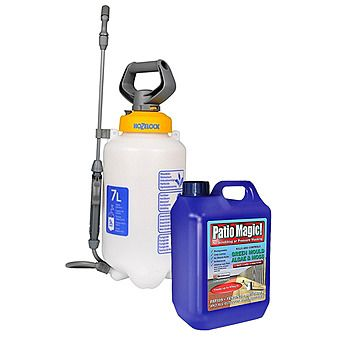 Hozelock 4507 7 Litre Hand Pump Sprayer and 2.5L Patio Magic Cleaner