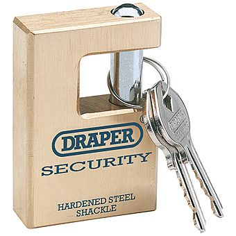 Draper 64201 Expert 63mm Quality Close Shackle Solid Brass Padlock & 2 Keys With Hardened Steel Shackle