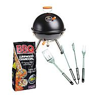 Gardman Kettle Travel Barbecue with 3kg Bag of Charcoal and 3 Piece Utensil Set