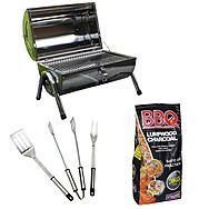 Stainless Steel Portable Barrel BBQ with BBQ Tool Set and Charcoal Kit