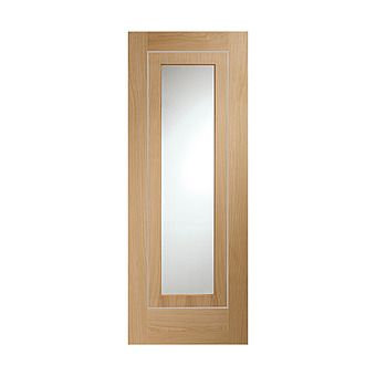 Picture of Varese Prefinished Oak Door With Clear Glass and Aluminium Inlay