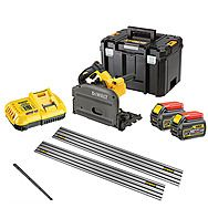 DeWalt DCS520T2 54V FlexVolt 165mm Plunge Saw & Rails Kit 2 x 6.0Ah Batteries
