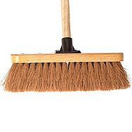 Soft Coco Bristle Broom Complete With Handle 11.5in x 4ft