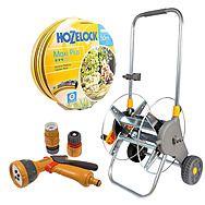 Hozelock 50m Maxi Plus Hose, Metal Cart Reel and Sprayer Set