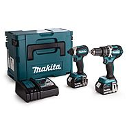 Makita DLX2180TJ 18v Cordless Brushless Kit DHP484 Combi Drill & DTD153 Impact Driver With 2 x 5.0Ah Batteries