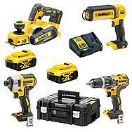 DEWALT Hammer Drill, Impact Driver, Planer, Sitelight - DCK266P2T + DCP580N + DCL050
