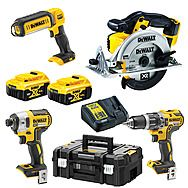 DeWalt 18v XR 5.0Ah Triple Pack DCS391N Circular Saw + DCK266P2T Hammer & Impact Kit + DCL050 LED Worklight