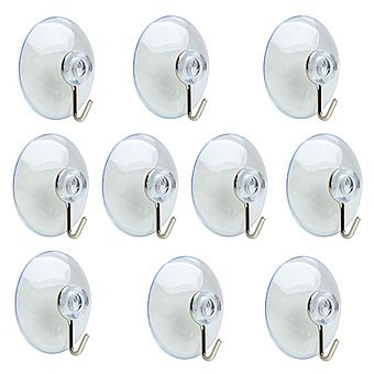 10 Pack Clear Suction Hooks 32mm