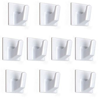 10 Pack Self Adhesive Square White Hooks 32mm