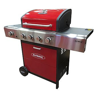 Picture of Outback Meteor Selector 4 Burner Gas Barbecue Red