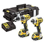 DEWALT DCK2500P2B 18v Bluetooth Tool Connect Drill Twinpack DCD797 + DCF888 + 2 x 5.0Ah Batteries