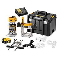 "DEWALT DCW604 Cordless 1/4"" Router Kit With 5.0Ah 18v Battery"