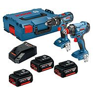 Bosch 18v GSB 18 V-28 Hammer Drill and GDX 18 V-180 Impact Driver/Wrench Twin Pack