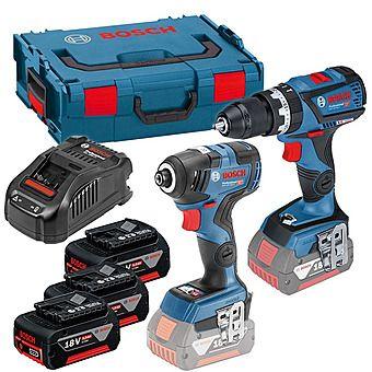 Bosch Brushless Twinpack GSB18V60C Drill & GDR18V200C Impact Driver +FREE 3rd 5.0Ah Battery