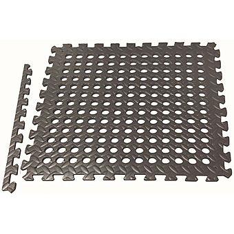 EVA Floor Drainage Tiles Pack of 4 Black - 60 x 60cm