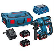 Bosch GBH18VEC Cordless SDS Hammer Drill 18 Volt With 3 x 5.0Ah Batteries Plus GAA18V24 USB Adaptor