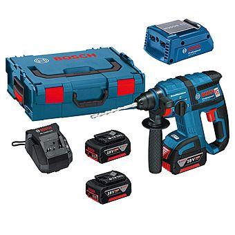 Bosch GBH18VEC Cordless Brushless SDS Hammer Drill 18 Volt With 3 x 5.0Ah Batteries Plus GAA18V24 USB Adaptor