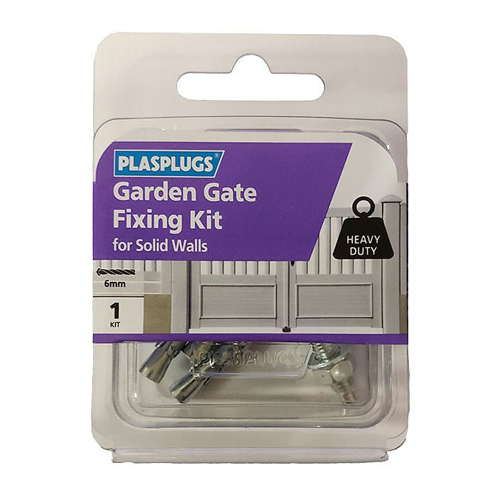 For Solid Walls Heavy Duty 6mm PLASPLUGS Garden Gate Fixing Kit