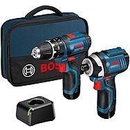 Bosch 12v Combi Drill & Impact Driver Twinpack 2 x 2.0Ah Li-ion Batteries