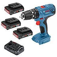 Bosch GSB18V21 18v Combi Drill With 3 x 2.0Ah Batteries