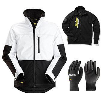Picture of Snickers 1148 AllRound Winter Jacket + Gloves & Sweatshirt | White/Black