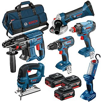 Bosch 0615990K9F 18V 6 Piece Cordless Kit 3 x 4.0Ah Batteries