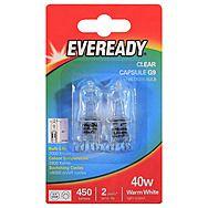Eveready G9 Clear 40W Capsule Bulb x 2