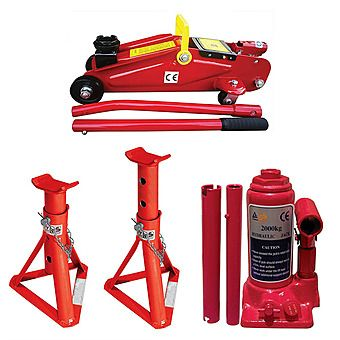 Picture of Streetwize 2 Tonne Jack & Axle Stands Kit (Bottle/Trolley)