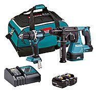 Makita DLX2204TX3 DHP484 Combi & DHR242 SDS+ Rotary Hammer 18V Brushless Drill Twinpack 2 x 5.0Ah Batteries